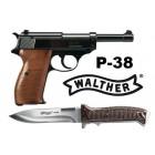 Wiatrówka - Pistolet Walther P-38 kal.4,46mm BB w komplecie z nożem WALTHER P-38